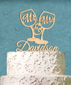 Love this 'Mr. & Mrs.' Personalized Wine Glass Cake Topper on #zulily! #zulilyfinds