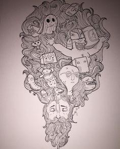 "Dopamine Man Revisited  9x12"" Pen on paper  #art #dopamine #pen #ink #penandink #fabercastell #micron #drawing #handdrawn #doodle #illustration"