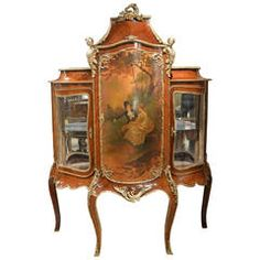 19th Century French Rosewood and Ormolu-Mounted Vernis Martin Cabinet