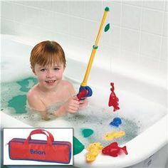 To make baths more fun --  Fishing Set in Personalized Case | Lillian Vernon - Bath Toys | Lillian Vernon