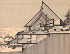 This incredible house in Atlantic Beach, Florida, was designed by none other than renowned Jacksonville architect William Morgan—who studied under Walter Gropius and Paul Rudolph—for his own family. Triangular Architecture, Modern Architecture Design, Concept Architecture, Architecture Drawings, Facade Architecture, Seattle Architecture, System Architecture, Sustainable Architecture, Residential Architecture