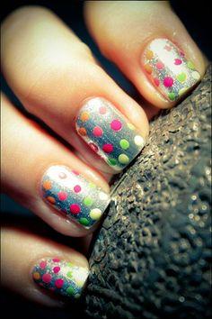 Neon polka dot nails on silver gradient - 30+ Adorable Polka Dots Nail Designs <3 <3
