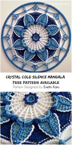 Ideally suited for home and garden decorations. They are also a beautiful decorative motive. They can be part of a pillow. Below the photos you will find a link to the free crochet pattern Crystal Cold Silence Mandala. Motif Mandala Crochet, Crochet Circles, Crochet Motifs, Crochet Squares, Crochet Stitches, Crochet Doilies, Crochet Diy, Thread Crochet, Crochet Crafts