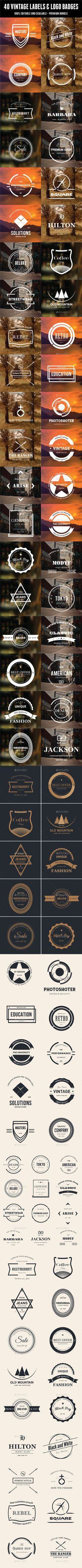 40 Vintage Labels & Logo Badges Bundle #design Download: http://graphicriver.net/item/40-vintage-labels-logo-badges-bundle/12287168?ref=ksioks