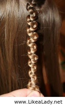 Do a normal braid, then hold onto the middle strand and push the 2 sides up the braid