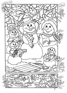 Hidden pictures christmas coloring sheet