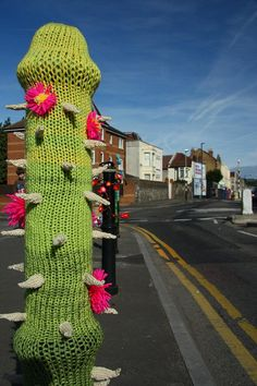 Guerilla knitting on North Street Green before teh 2011 Southbank Bristol Arts Trail | Flickr - Photo Sharing!