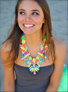necklaces DIY: old prom-ish jewelry turned fab, painted with neon nail polish.