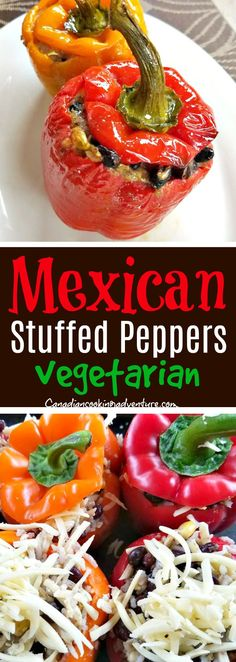 MEXICAN STUFFED PEPPERS #Mexican #Stuffed #Peppers #cheesy #cheese #cheedar #corn #blackbeans #vegetarian #bellpeppers #yellowpepper #orangepepper #rice #mexico