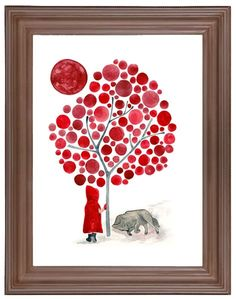 Watercolor Little Red Riding Hood and the Wolf Art by jellybeans