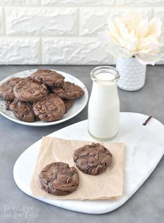 Flourless Keto Chewy Double Chocolate Chip Cookies - Peace Love and Low Carb