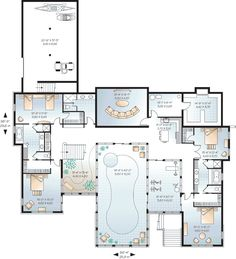 Luxury Floor Plans | Lower Floor Plan of Coastal Contemporary House Plan 65567