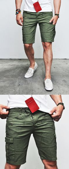 Bottoms :: Shorts :: Zippered Military Cargo Biker Cutoff-Shorts 33 - Mens Fashion Clothing For An Attractive Guy Look