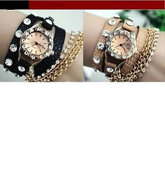 Black Bracelet Wrap Chain Watch