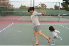 Walking the line | Take little ones to a tennis court to practice balance and hopping over the lines!