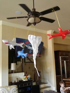 Sharknado party crepe paper tornado with rotating sharks 4th Birthday Parties, Mom Birthday, Movie Party, Party Time, Party Like Its 1999, Backyard Movie Nights, Shark Party, Happy 1st Birthdays, Princess Party