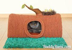 Muster: Pet häkeln Bett, Katze Höhle T-shirt Garn A Haus im Wald