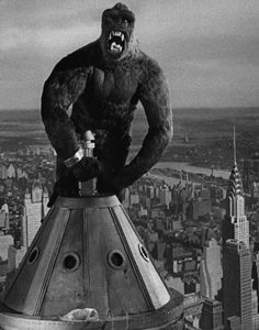 King Kong climbs the Empire State Building with is lady.  And then he battles several fighter planes.  Both romantic and sad.  And sort of awkward.