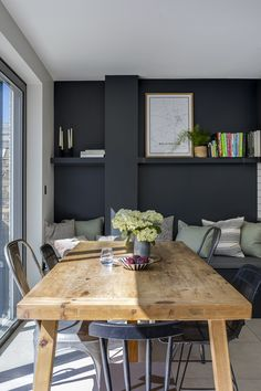 Interior Design Kitchen Interior Design by Imperfect Interiors at this Victorian terraced house in Balham, London. A palette of contemporary paint colours mixed with traditional period details- Farrow Dark Grey Kitchen Cabinets, Best Kitchen Cabinets, Grey Kitchens, Ikea Interior, Grey Interior Design, Interior Design Kitchen, Contemporary Interior, Kitchen Contemporary, Purple Interior