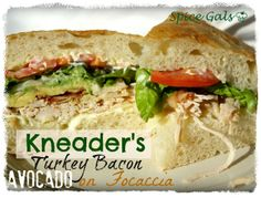 Spice Gals: Kneader's Turkey Bacon Avocado on Foccacia. Make a delicious Kneader's sandwich with your leftover Thanksgiving Turkey  http://www.sugar-n-spicegals.com/2012/11/kneaders-turkey-bacon-avocado-on.html#