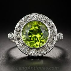 Peridot and Diamond Vintage Cocktail Ring