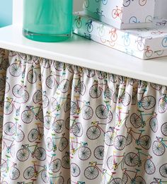 Beginner stitchers, this is the project for you – all you need to be able to do is sew in a straight line! You can use as much (or as little) fabric as you like, depending on the size of your cabinet, and it's just a case of hemming the bottom and creating a channel for the top. The curtain is attached to the cabinet by means of wire and screw hooks and they're incredibly simple to work with, too. The potential for this project is huge: hide away your washing machine, fit a colourful pair in…