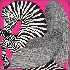 Zebra Pegasus Hermes cashmere and silk shawl, hand rolled, x Designed by Alice Shirley Turbans, Hermes Online, Hermes Paris, Silk Shawl, Designer Scarves, Scarf Design, Pegasus, A Boutique, Womens Scarves