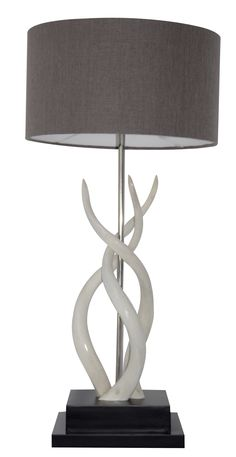 Buy Deluxe Triple Kudu Inner Horn Lamp by Ngala Trading Co - Made-to-Order designer Lighting from Dering Hall's collection of Contemporary Rustic / Folk Organic Table Lighting.