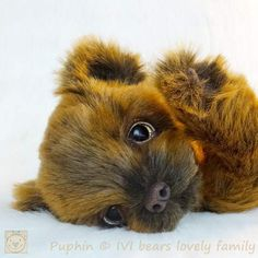 Puphin By Iveta Rakova - Bear Pile Double Jointed, Teddy Bear, Hand Painted, Animals, Animales, Animaux, Teddy Bears, Animal, Animais