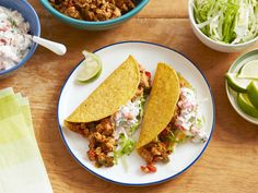 Ground Chicken Tacos with Creamy Salsa recipe from Sunny Anderson via Food Network