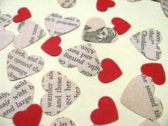 Alice in wonderland and Through the looking glass confetti - mix of vintage text and red hearts ....... @Bex Medhurst could use your fav book