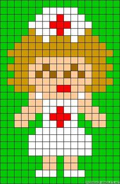 Nurse perler bead pattern 123 Cross Stitch, Cross Stitch Cards, Cross Stitch Designs, Cross Stitching, Cross Stitch Patterns, Melty Bead Patterns, Perler Patterns, Beading Patterns, Perler Bead Art