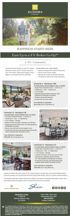New Homes for Sale in Rancho Mission Viejo, California  Earn 4% at Alondra in Rancho Mission Viejo  Brokers Welcome at this 55+ Community it is exactly what your clients want!  http://www.sheahomes.com/community/alondra/
