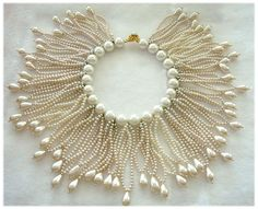 DeLILLO Opulent Faux Pearl Fringe Collar Necklace, ca. 1960's
