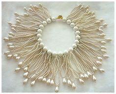 DeLILLO Opulent Faux Pearl Fringe Collar Necklace, ca. 1960's