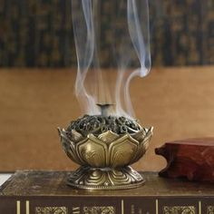 Chinese Buddha Alloy Incense Burner Lotus Flower Incense Holder Handmade Censer for Buddhist Home Office Decoration - Lucky Mouse Chinese Gifts Incense Holder, Candle Holders, Chinese Buddha, Meditation Altar, Aromatherapy Candles, Most Beautiful Flowers, Home Office Decor, Home Decor, Zen Bedroom Decor