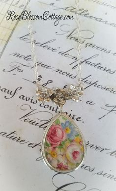 Pink Rose Chintz Tear Drop Floral Sterling Festoon Broken China Jewelry Necklace Pendant, www.RoseBlossomCottage.com