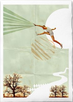 You Can Do It -Fine Art Collage Illustration Print Handmade Watercolor Paper 8x12, Sportsman jumping into the sky