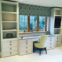 Custom Made Blinds - London Cushion Company, Battersea Study Office, Office Walls, Home Office, Electric Blinds, Roman Blinds, Can Design, Joinery, Contemporary Style, Valance Curtains