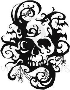 Fresh, creative designs and tutorials for machine and hand embroidery. Halloween Stencils, Halloween Frames, Halloween Cards, Halloween Fun, Stencil Templates, Stencil Designs, Skull Silhouette, Skull Stencil, 3d Pen