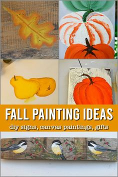 Easy painting ideas and lessons to create DIY signs, canvas art and gifts for Fall. Free patterns and printables. Easy Fall Crafts, Fall Diy, Diy Crafts, Thanksgiving Crafts For Kids, Autumn Painting, Beginner Painting, Diy Home Decor Projects, Hand Painted Signs, Painting Lessons