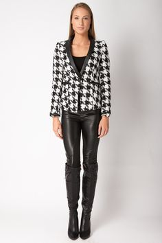 Dogtooth Blazer with Leather-Look Lapels - Blazers - Clothing