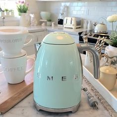 My kettle has finally arrived. It was a birthday present from my husband...and yes, I do like household goods for gifts.We like our coffee fast,  in the morning and this heats up water, in a flash!! Hubby had a car this color, (50 year ago) when he was a young man, and it's my favorite color also. Stay warm to my friends in the cold, and everyone have a great day!!  #SMEG #potterybarn #westelm #williamsonoma #whitekitchen #kettles #hgtv #betterhomesandgarden #houzz #homedecor #interior #in