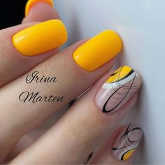 90 Beautiful Square Nails Design Ideas You'll Want To Copy Immediately – Page 5 – Cocopipi Gel Nails At Home, Diy Nails, Cute Nails, Pretty Nails, Square Nail Designs, Colorful Nail Designs, Nail Design Spring, Yellow Nail Art, Manicure E Pedicure