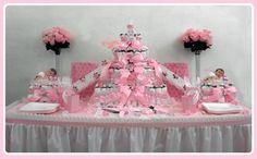 Pretty Pink Half Sheet Diaper Cake: The Perfect Baby Shower Gift and/or Centerpiece for your upcoming baby shower!!! Completely blow the new mom-to-be and her guests away with our new diaper