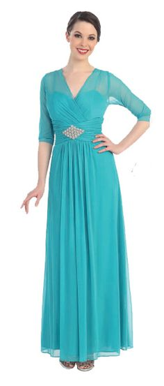 Elegant Quarter Sleeve Sea Green Mother of Bride or Groom Dress #seagreen #formaldress #gown