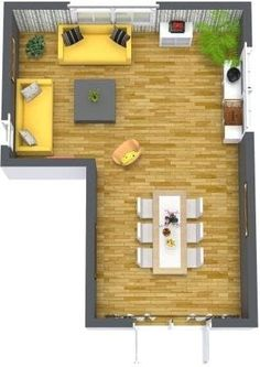 The L-shaped living and dining room may be a typical layout, but that doesn't mean it's without space planning challenges. Here are some suggestions on how to help you improve the flow and function of this floor plan: