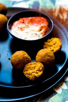 Roasted Butternut Squash Falafel with Whipped Feta Dip - the most delicious play on sweet and salty, and hot and cold.