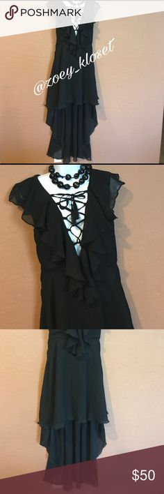 """🆕Black Flowy Hi Low Ruffle Dress Beautiful, Side Zipper, Sleeveless, Criss Cross Tie Top Sheer Ruffle Top, Flare, Hi Low Long Train, Accessories not included, Lined. No tag for the size or materials. See measurements bust 36"""" waist 34"""" hip 51"""" length to short part 34"""" length to long train 54"""" Guessing it's a L/XL. Dresses High Low"""