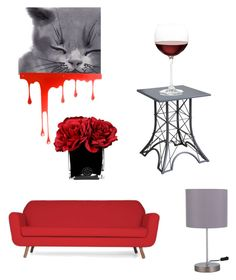 """""""Grey & red🍷"""" by arina-bianca ❤ liked on Polyvore featuring interior, interiors, interior design, home, home decor, interior decorating, HomePop, Nordstrom, Pulpo and Hervé Gambs"""